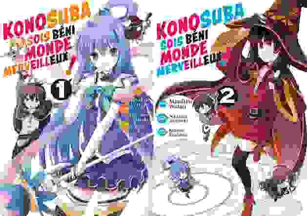 Couvertures des tomes 1 et 2 de Konosuba